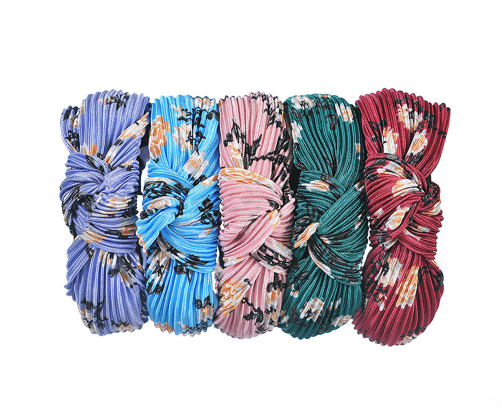 Pleated Floral Print Knot Headband SS21