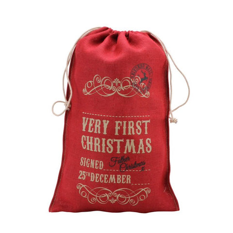 Personalise Your Own First Christmas ..Hessian Santa Sack