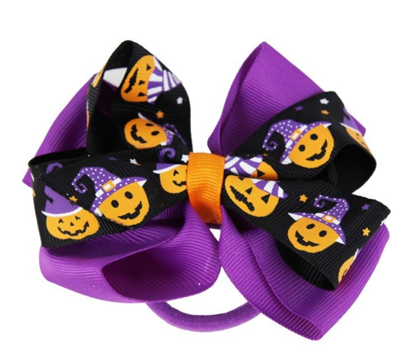 Halloween Bow Hair Bobble Pumpkin Purple