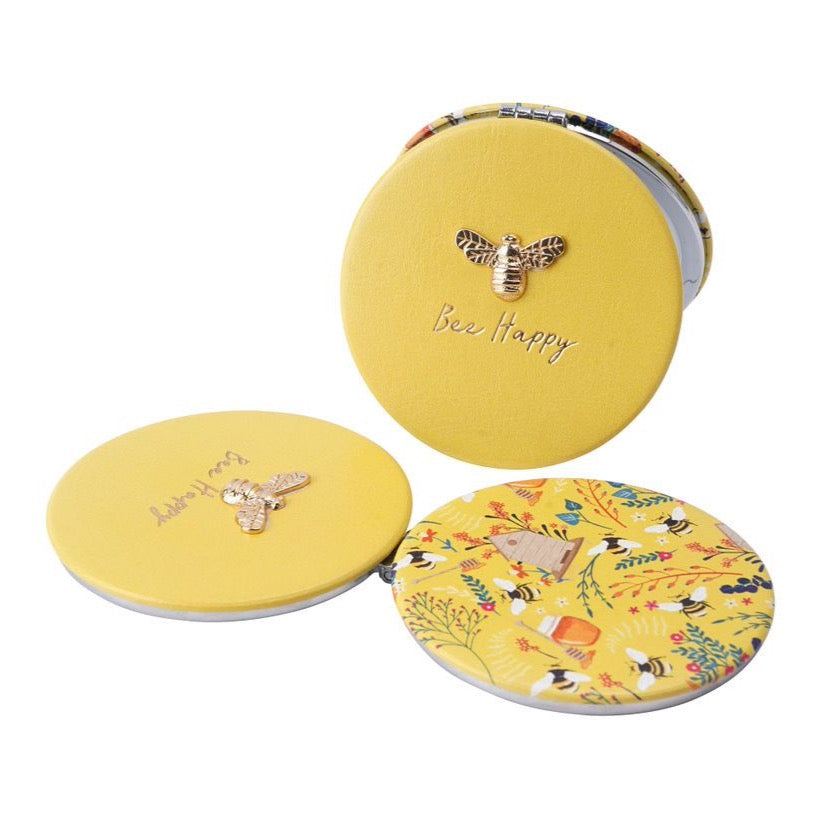 Bee Happy Yellow Compact Mirror