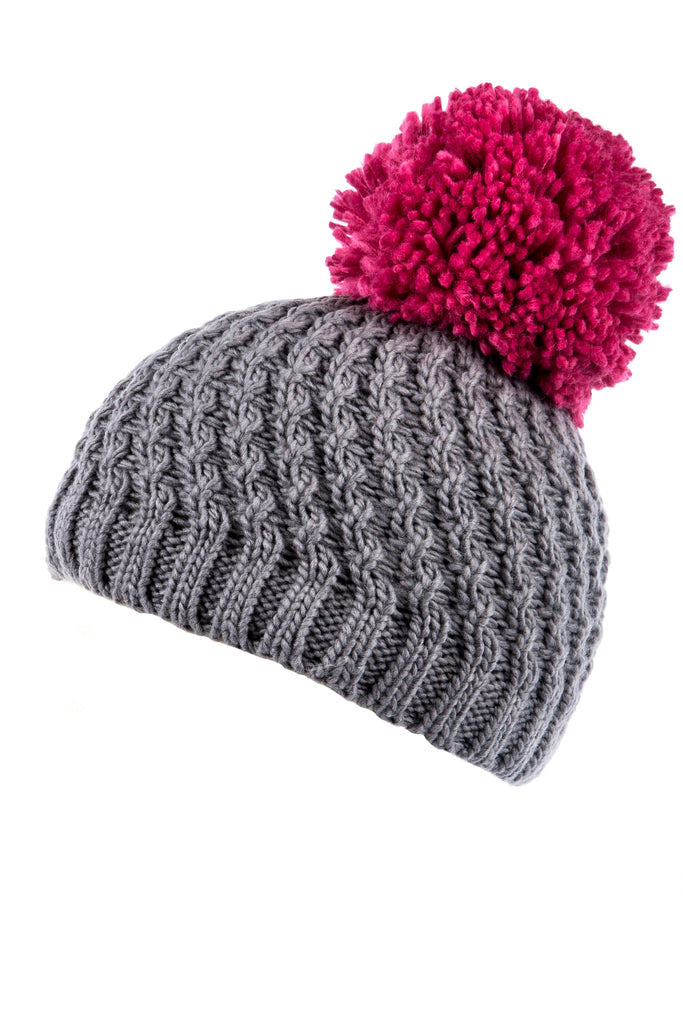 Grey and Pink Diagonal Cable Knit Beanie Hat with Oversized Yarn Pom Pom