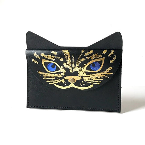 Leather Cat Clutch
