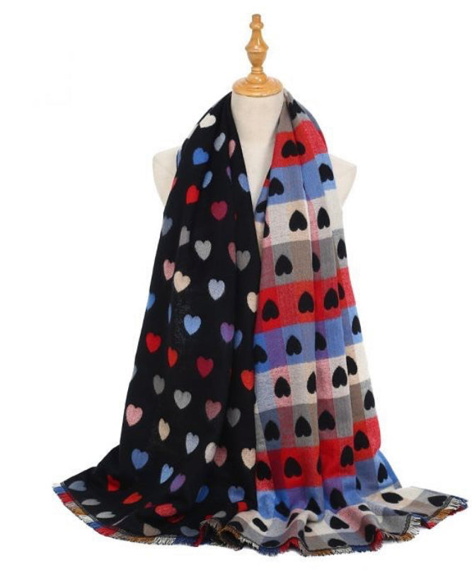 Double Printed Heart Scarf
