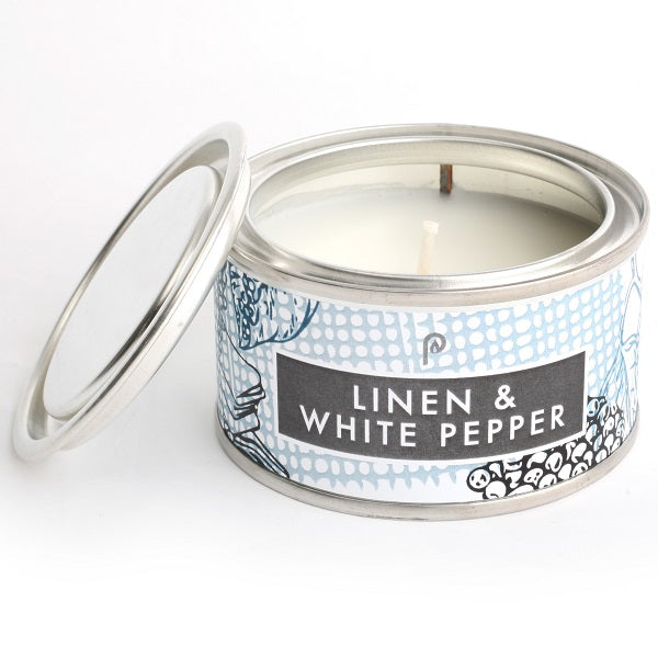 Pintail Linen and White Elements Candle Tin