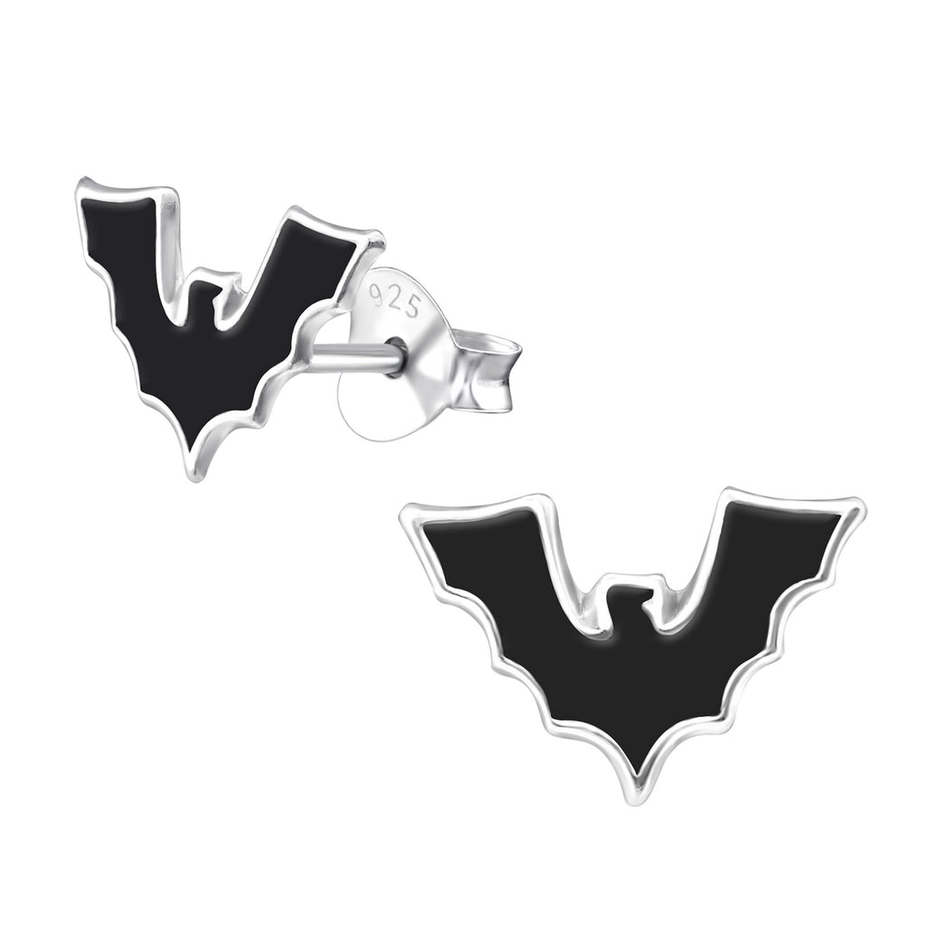 Halloween Bat 925 Sterling Silver Stud Earrings