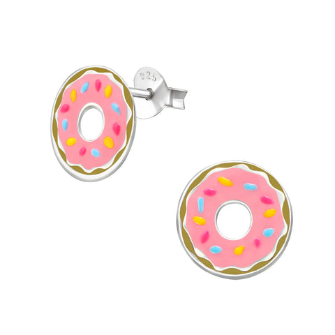Children's Doughnut 925 Sterling Silver Stud Earrings