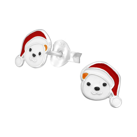 Children's Christmas Polar Bear 925 Sterling Silver Stud Earrings