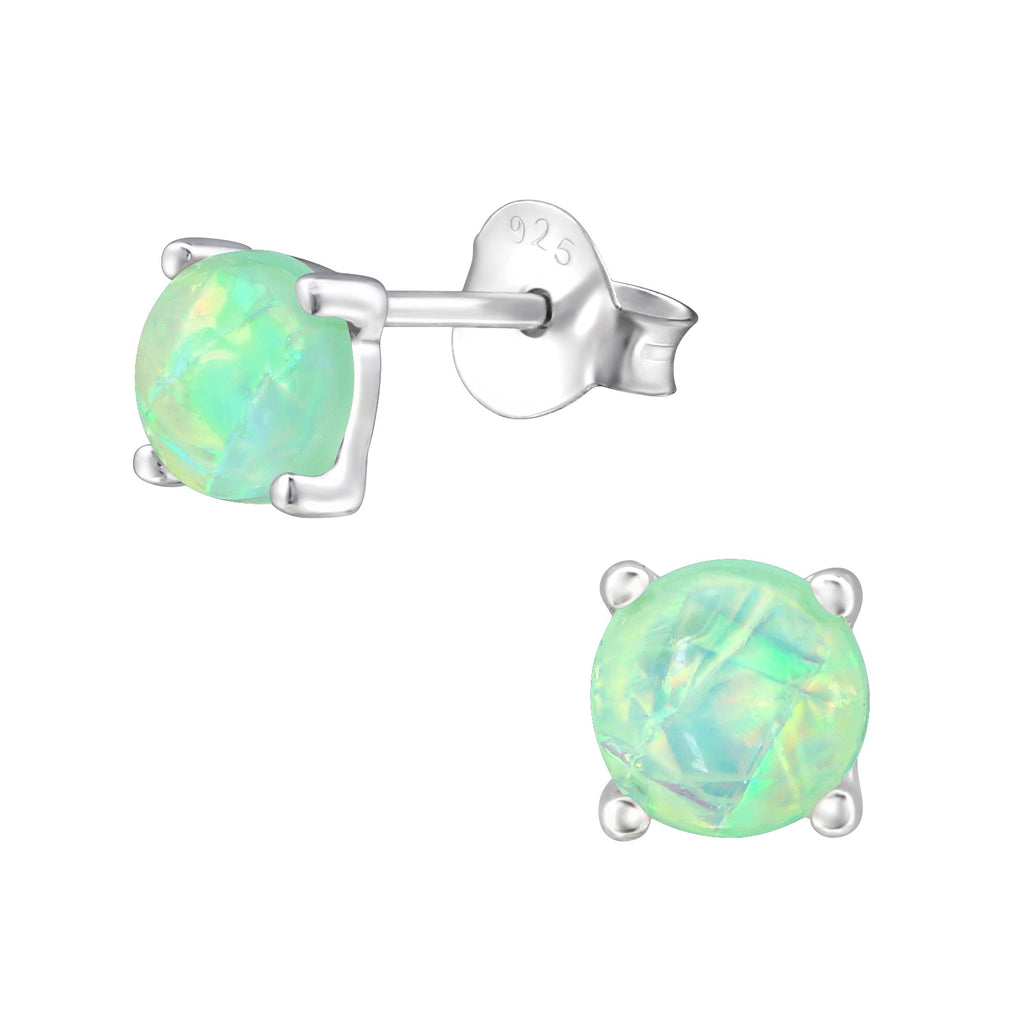 Semi Precious Green Opal Sterling Silver Stud Earrings