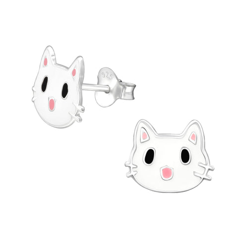 Children's White Cat 925 Sterling Silver Stud Earrings