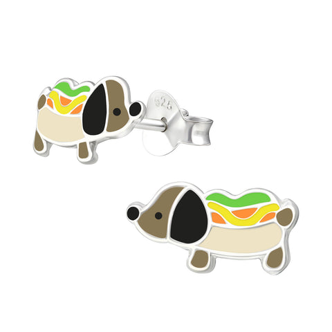 Children's Sausage Dog 925 Sterling Silver Stud Earrings