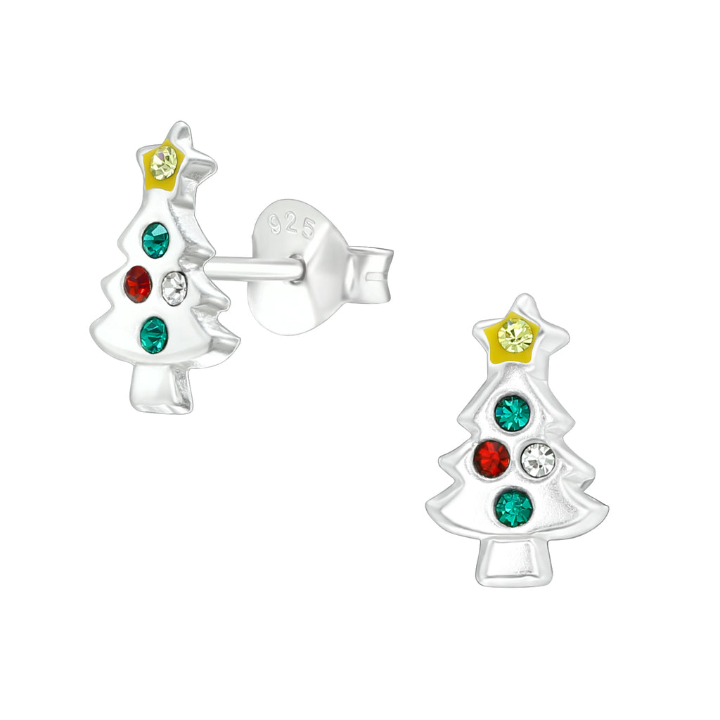 Christmas Tree 925 Sterling Silver Stud Earrings
