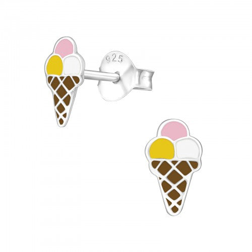 Ice-Cream Sterling Silver Stud Earrings