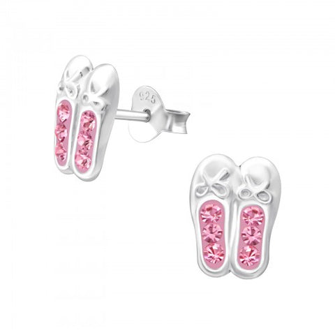 Children's Ballerina Shoes Pink 925 Sterling Silver Stud Earrings