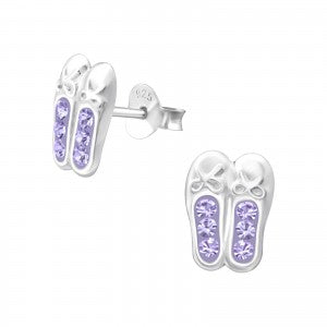 Children's Ballerina Shoes Lilac 925 Sterling Silver Stud Earrings