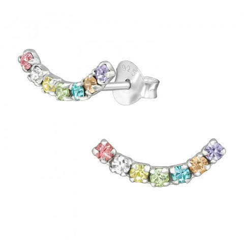 Rainbow Curve 925 Sterling Silver Stud Earrings
