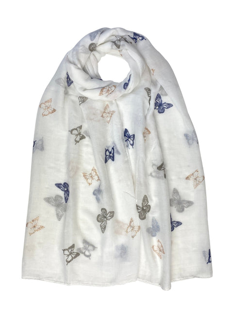 Gold and Navy Print Butterfly Scarf White