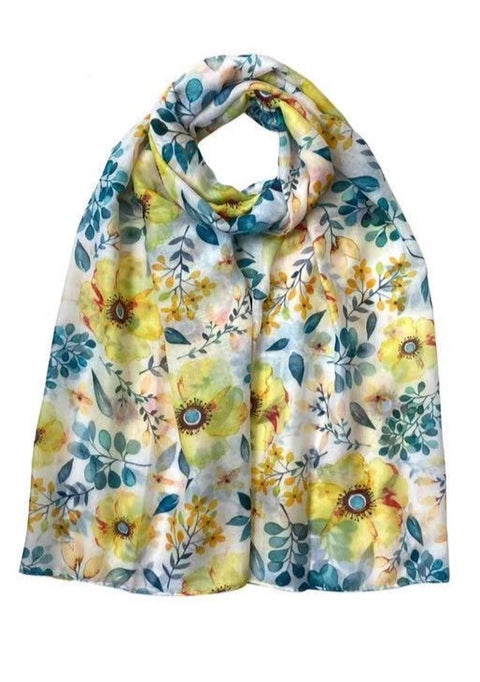 Spring Floral Print Scarf Yellow