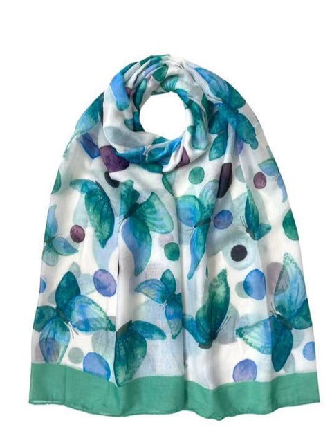 Floral Butterfly Print Scarf Green