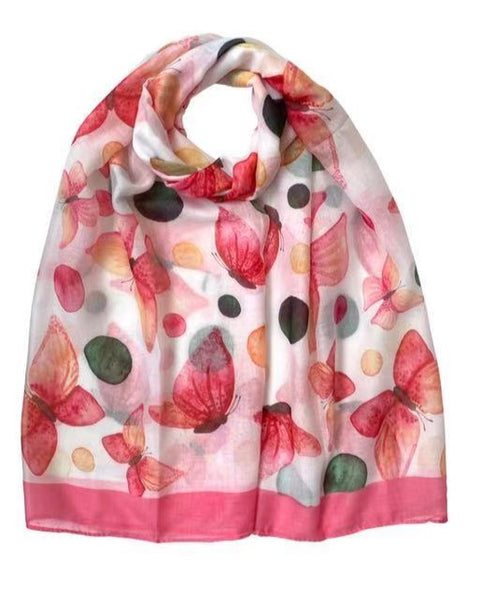 Floral Butterfly Print Scarf Pink
