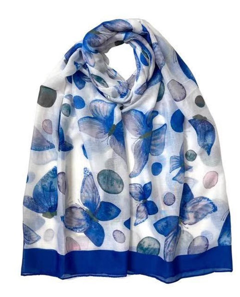 Floral Butterfly Print Scarf Blue