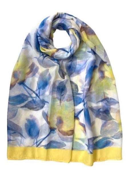 Watercolour Floral Print Scarf Yellow
