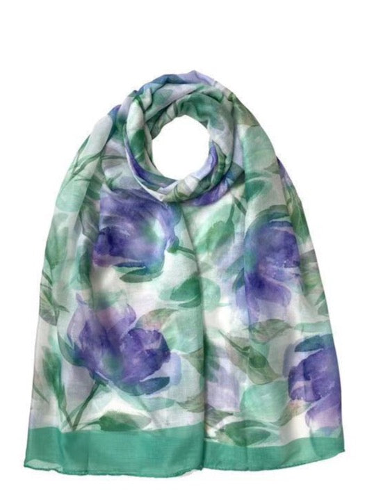 Watercolour Floral Print Scarf Green