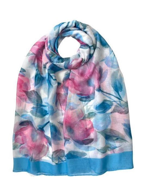 Watercolour Floral Print Scarf Blue