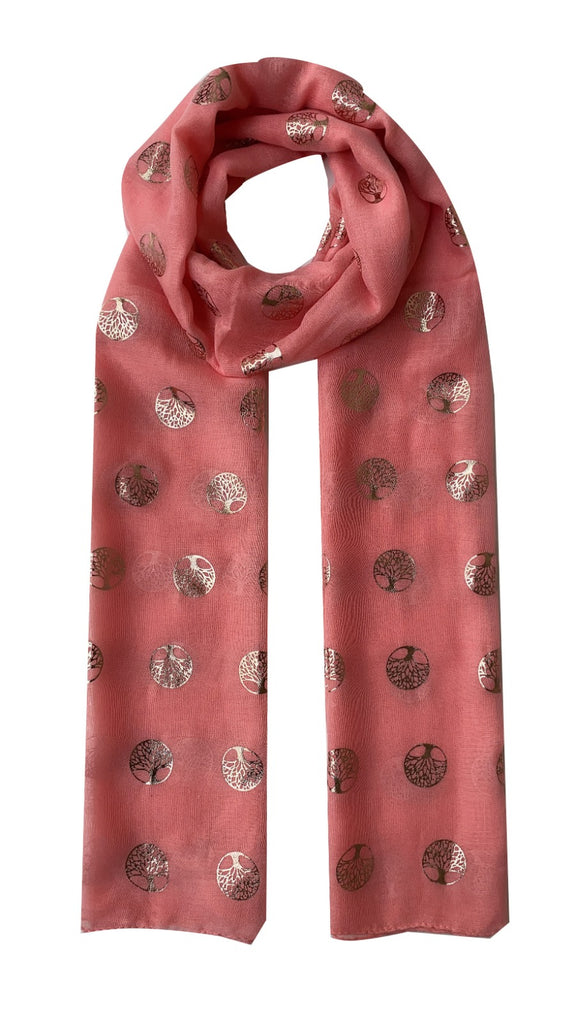 Rose Gold Mulberry Tree Scarf in Mint Coral