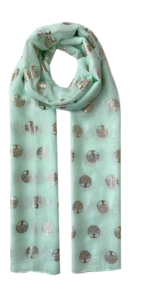 Rose Gold Mulberry Tree Scarf in Mint Green