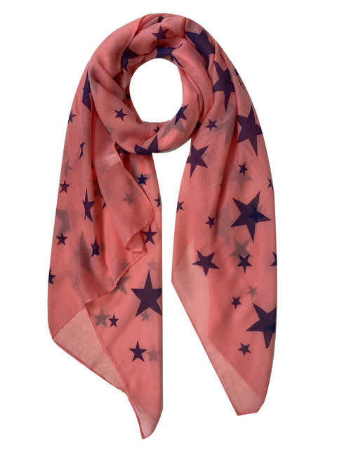 Coral with Navy Stars Print Scarf