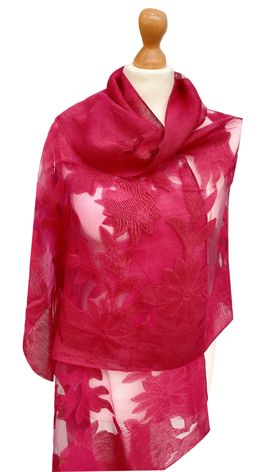 Luxury Cerise Pink Floral Scarf