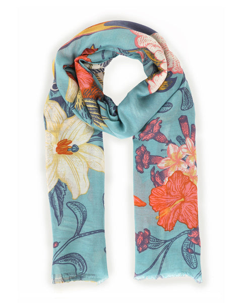 Powder Tropical Bird Print Scarf