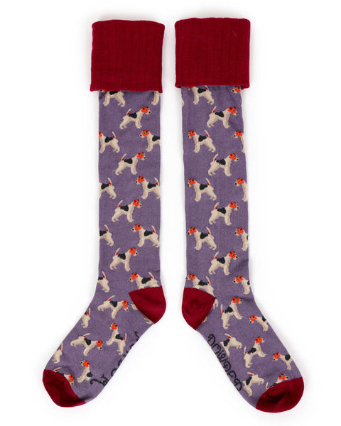 Powder Fox Terrier Long Boot Socks in Lavender