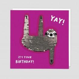 Sloth Reversible Sequin Card