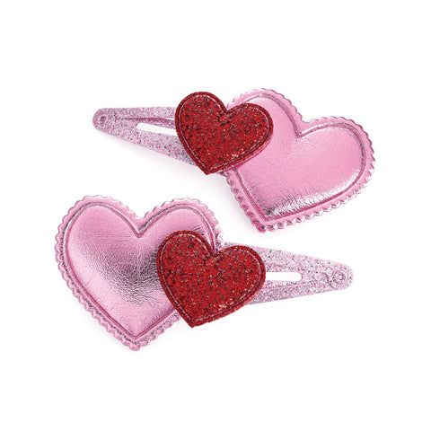 Set of 2 Heart Hair Clips
