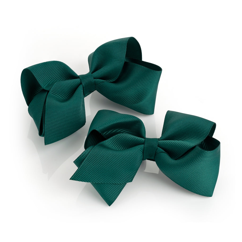 Racing Green Bow Clips Set of 2