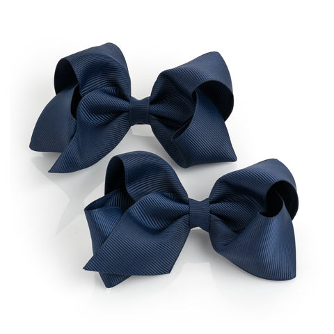 Navy Bow Clips Set of 2