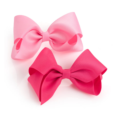 Light and Cerise Pink Bow Clips Set of 2