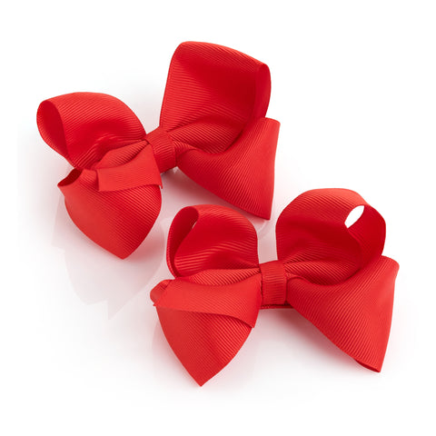 Red Bow Clips Set of 2