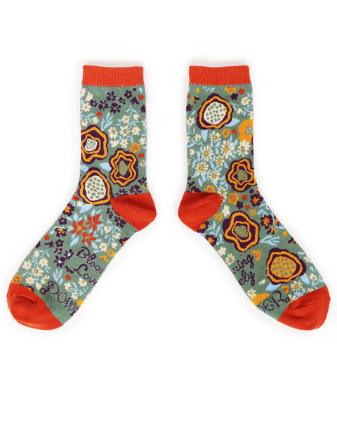 Powder Abstract Floral Ankle Sock Moss