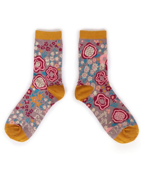 Powder Abstract Floral Ankle Sock Lilac