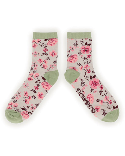 Powder Pink Blossom Ankle Socks