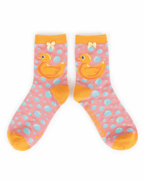 Powder Rubber Duck Ankle Socks