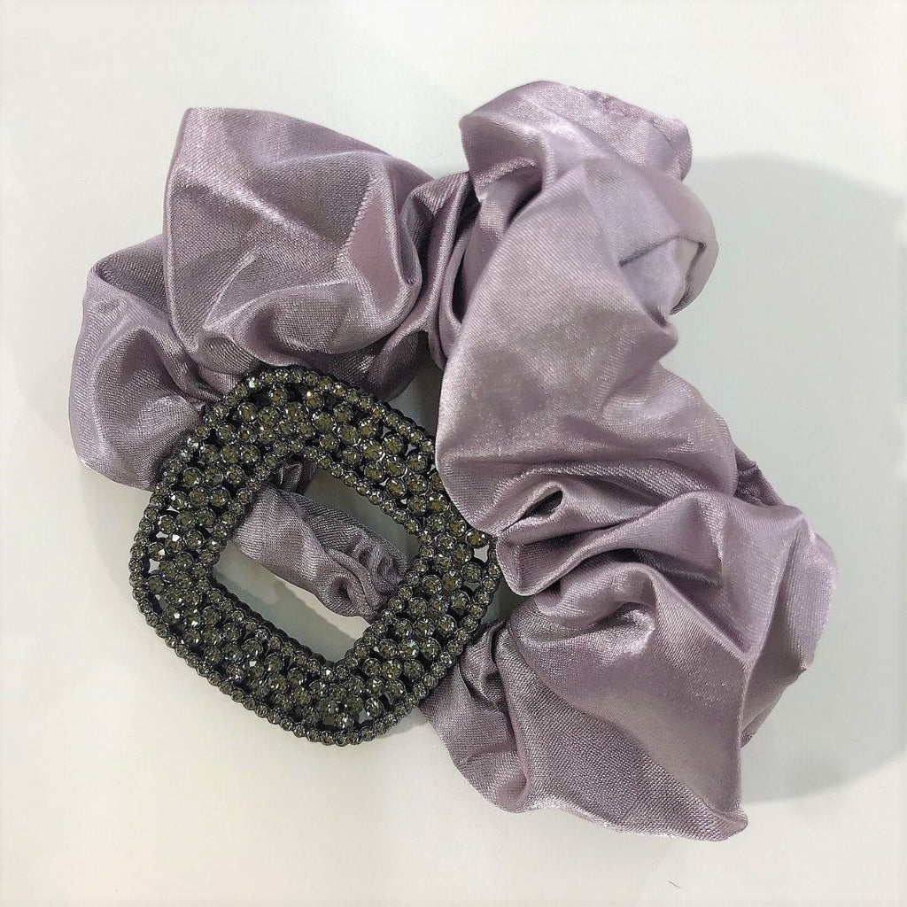 Large Mauve Scrunchie with Diamante Buckle Detail