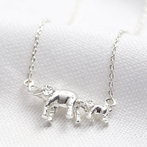 Mother and Baby Elephant Necklace in Silver