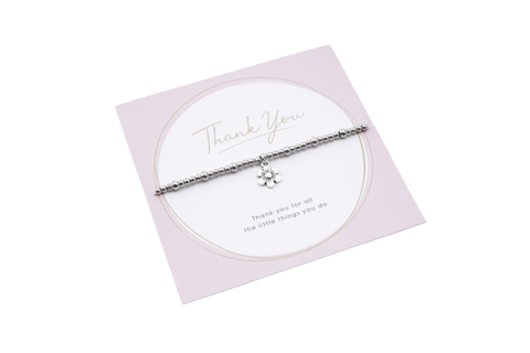 Thank You Flower Charm Stretchy Bracelet