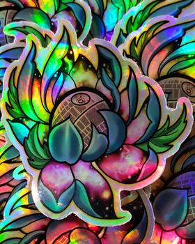 Death Star Flower Holographic Stickers 3""