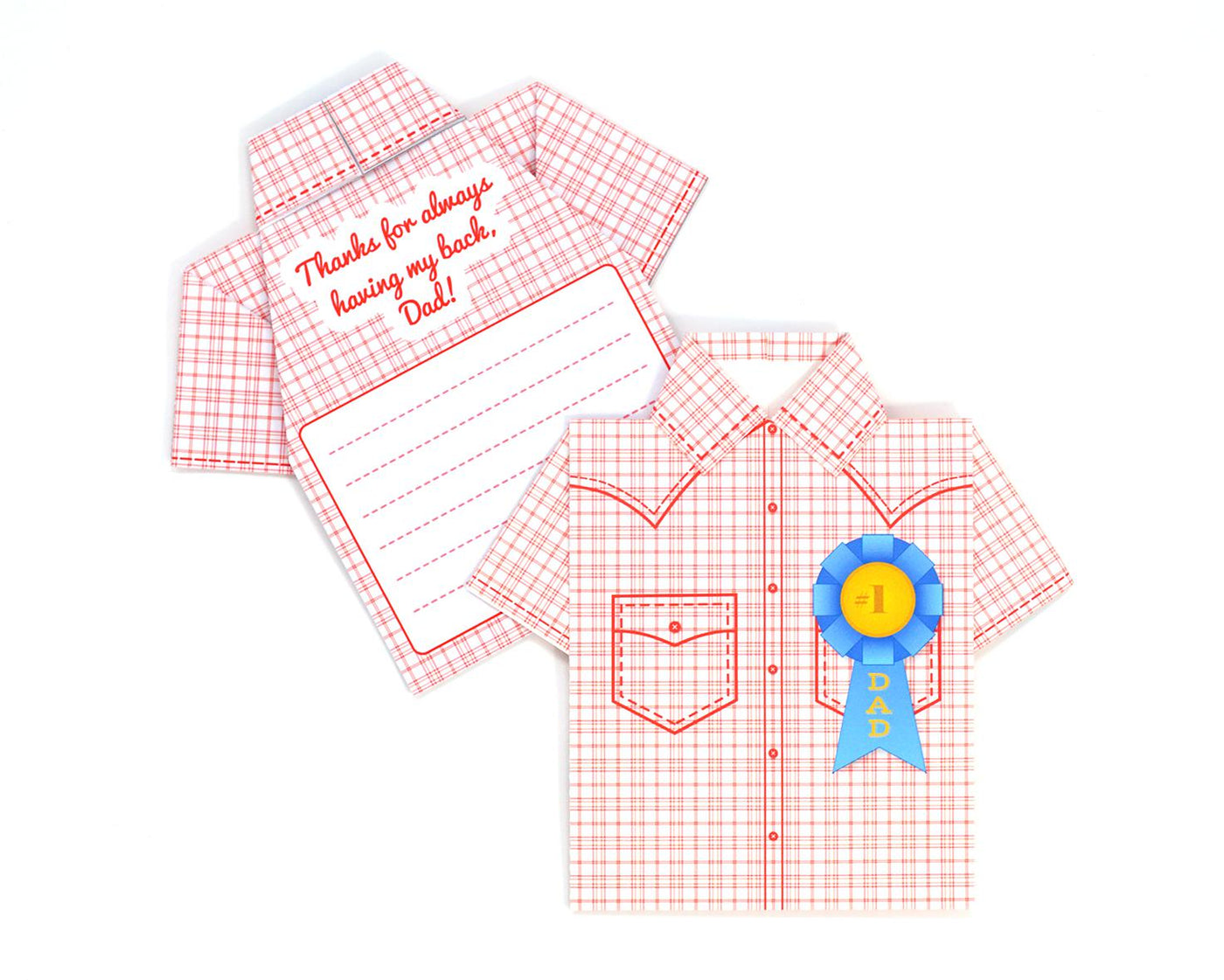 Printable DIY Father's Day Origami Shirt Card - Western Hero Design