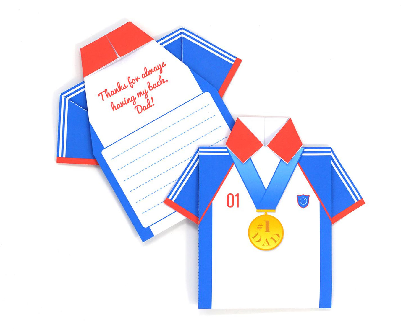 Printable DIY Father's Day Origami Shirt Card - Olympic Hero Design