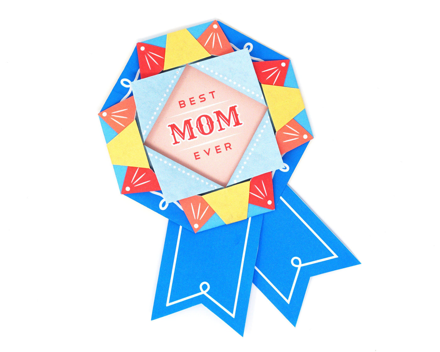 Printable DIY Mother's Day Origami Blue Ribbon Card